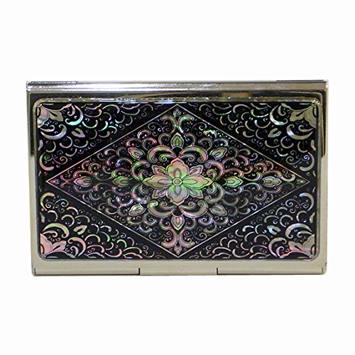 (Mother of Pearl Metal Stainless Steel Engraved Slim Business Credit Black Card Money Case Holder with Arabesque Design)