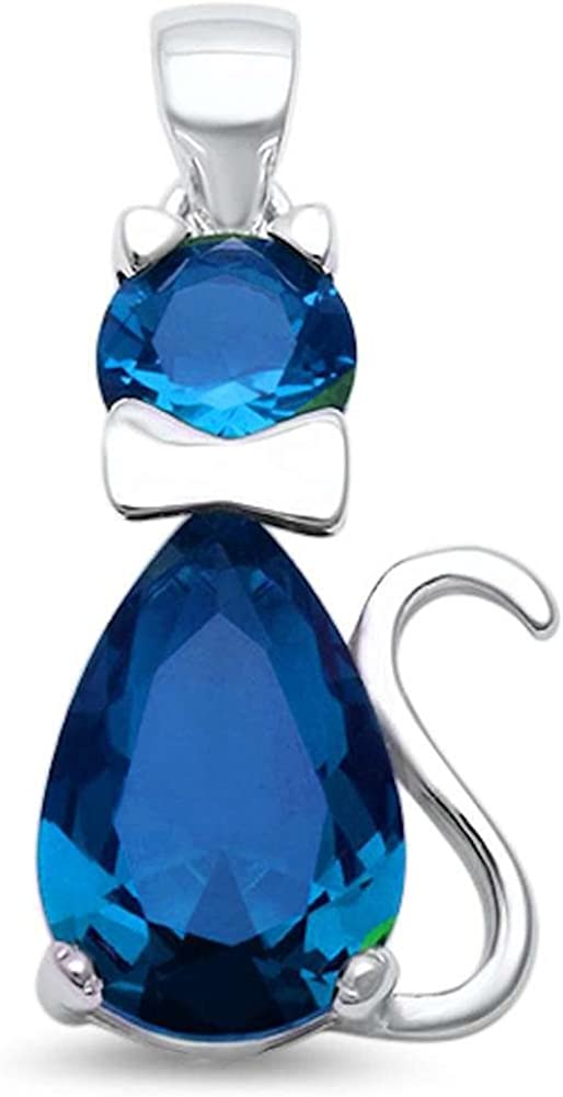 Teardrop Cat Pendant Charm Pear Simulated Rainbow Topaz Round CZ 925 Sterling Silver