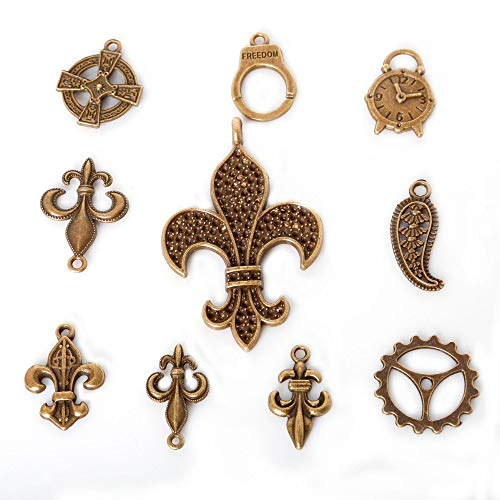 (Lindsie-Box - Mixed 60pcs/lot Vintage Zinc Alloy Antique Bronze Plated Handcuff Clock Metal Charms Tibetan Pendants For DIY Jewelry)