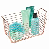 InterDesign Classico Storage Basket, Medium-Sized Wire Basket for Toiletries, Kitchen Utensils, Toys and More, Made of Metal, Copper Coloured
