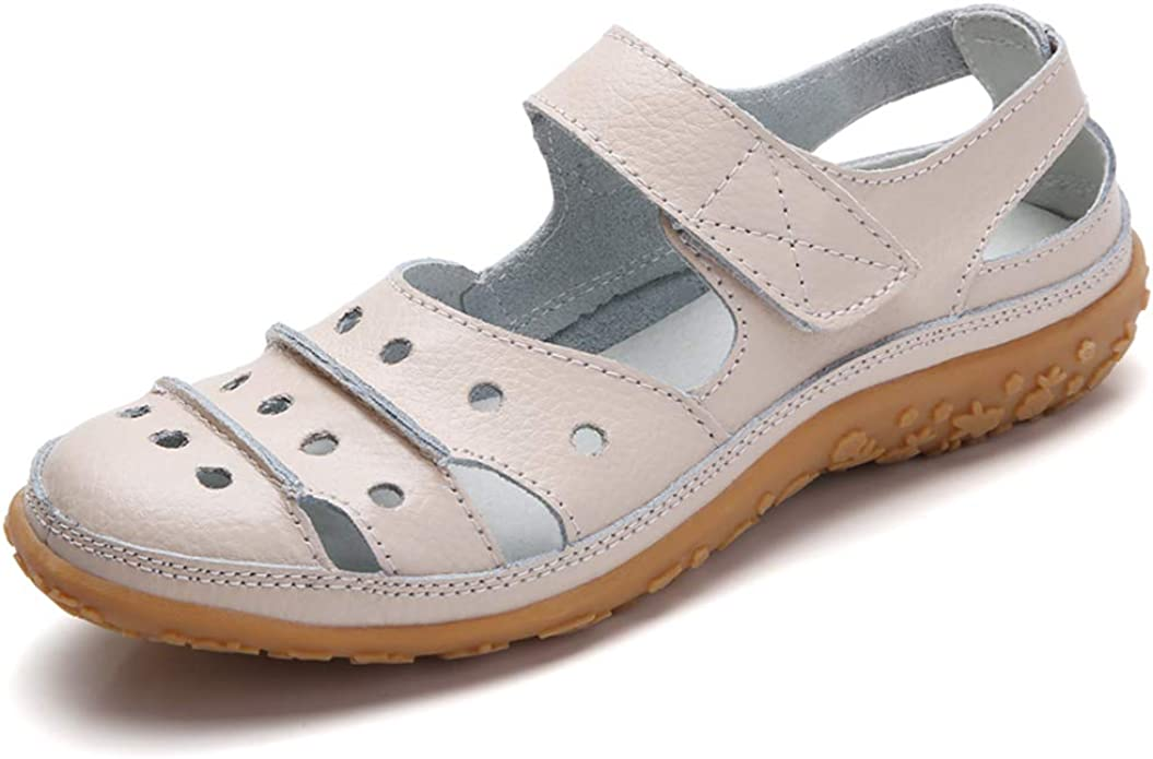 JDS Soft Leather Flat Sandals for Women