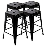 LCH 24″ Metal Industrial Backless Bar Stools, Set of 4 Indoor/Outdoor Counter Stackable Barstool, 500LB Limit, Black For Sale