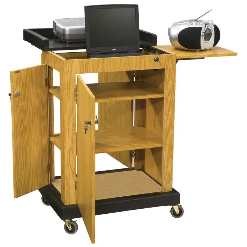 Oklahoma Sound SCL-MO Smart Cart Lectern, 28'' Width x 41'' Height x 21'' Depth, Medium Oak by Oklahoma Sound