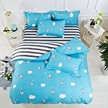 4pcs Novelty Designs Children Bedding Set Duvet Cover Set Bed Sheet Pillowcase for Boys Twin Full Queen Size (Twin, Paper Plane, Blue)