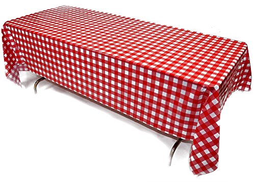 Prestidge 4 Pack Red and White Checkered Tablecloths Durable Plastic Covers for Rectangular Tables Complete with Beverage Napkins
