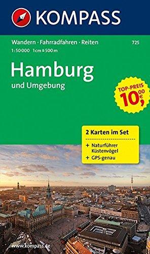 Hamburg und Umgebung: Wanderkarten-Set mit Radrouten, Reitwegen und Naturführer. GPS-genau. 1:50000 (KOMPASS-Wanderkarten, Band 725)