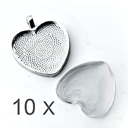 10 x silver heart bezel trays and clear heart glass cabochons for jewelry making kit, craft supplies, jewelry findings, cabochon necklace kit for girls adults - silver bezel heart pendants necklace