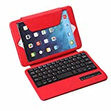 TPCROMEER Detachable Wireless Bluetooth Keyboard Stand Folio PU Leather Case Cover for iPad Mini 7.9 Inch with Auto Wake/Sleep Function - Red