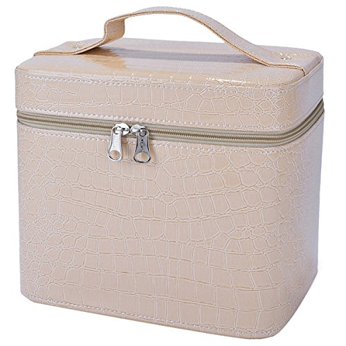 (Makeup Train Case,COOFIT Portable Travel Makeup Case Crocodile Pattern Leather Beauty Box for Women Large Beige)