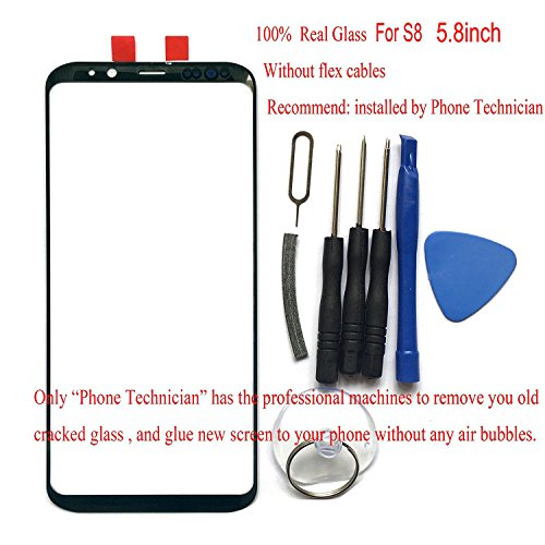 100% Glass Front Screen Outer Lens Top Replacement for Galaxy S8 5.8 SM-G950 G950A G950P G950T G950U G950V G950F G950FD G950W G950S/K/L G9500 All Carriers (Not Digitizer & Not LCD)