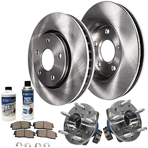Grand Am Rotors - Detroit Axle - Front Wheel Bearing & Hub, Disc Brake Rotors w/Ceramic Pads w/Hardware & Brake Cleaner & Fluid for 1997-2003 Chevy Malibu - [99-04 Olds Alero] - 99-05 Pontiac Grand Am - [97-99 Cutlass]