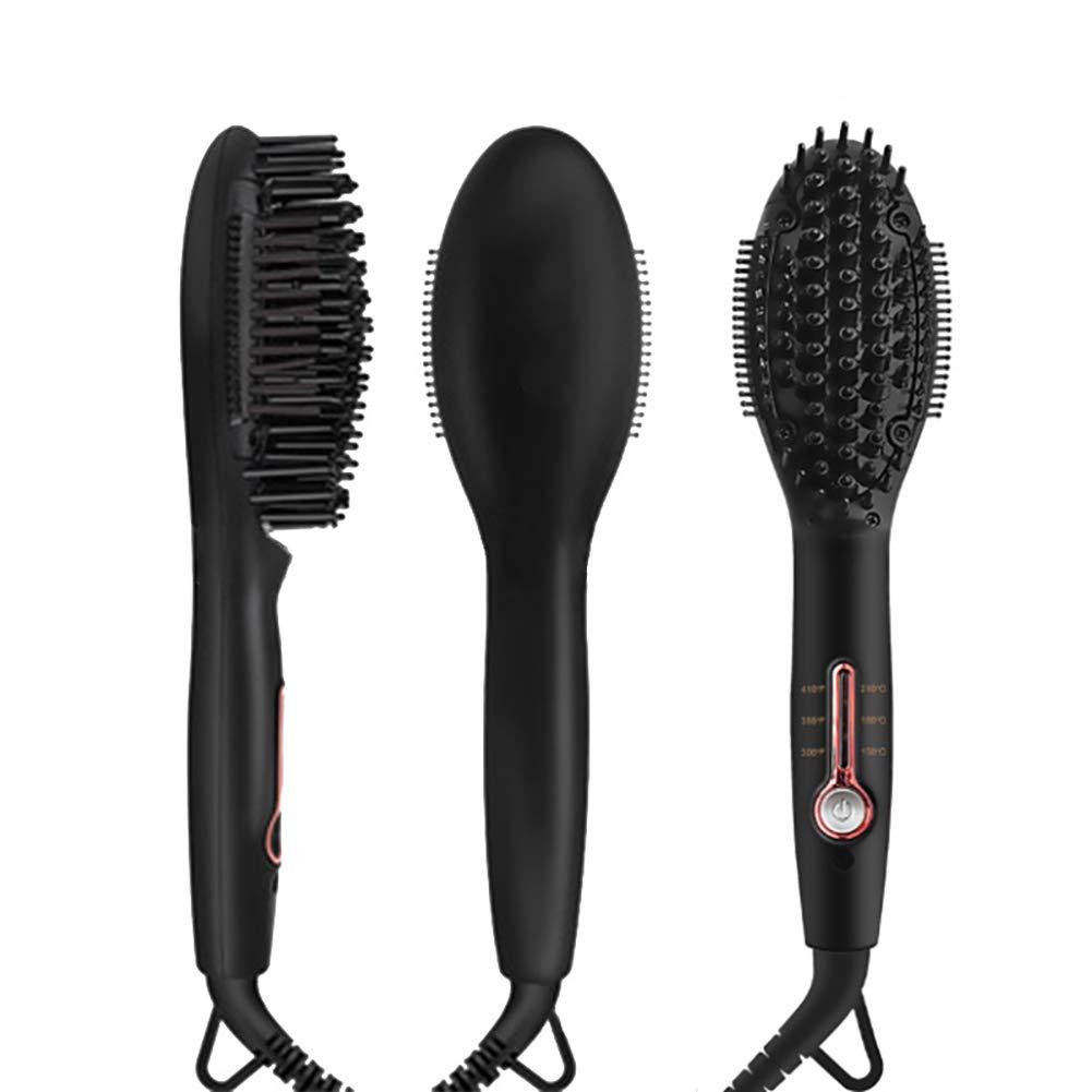 GEER Ionic Hair Straightener Brush for Silky Frizz Free Hair, Anti-Scald Ceramic Straightener Comb Ionic Hair Brush for All Hair Types