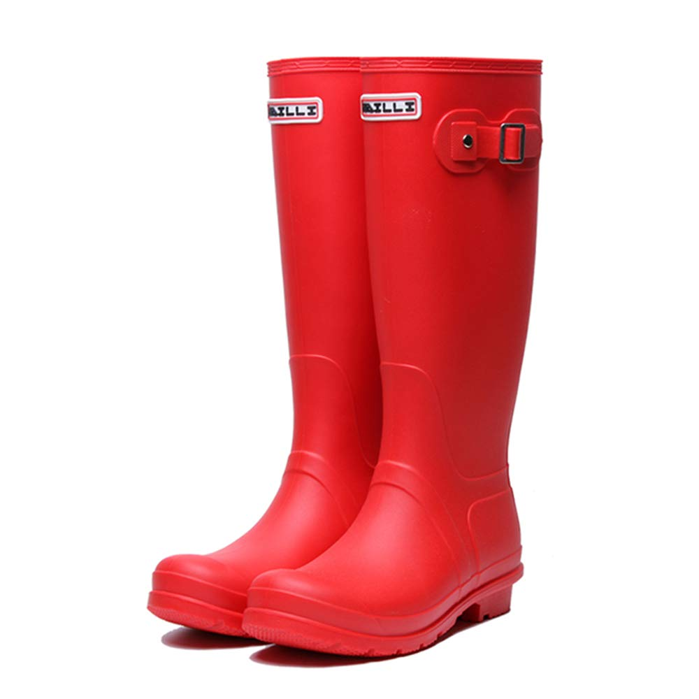 HGDR Regen Stiefel Frauen Wellies Damen Gummi Kniehohe Flache Outdoor Wasserdichte Gummi Damen Regen Stiefel Wasserschuhe Schnee Regen Stiefel, Schwarz, Rot, Gelb,rot-EU40 b8d410