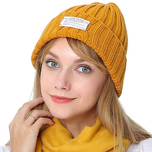 (Puli Winter Unisex Solid Color Beanie Hat Thick Rib Knitted Cuffed Skull Cap)