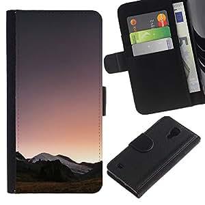 Billetera de Cuero Caso del tirón Titular de la tarjeta Carcasa Funda del zurriago para Samsung Galaxy S4 IV I9500 / Business Style Horizon Mountains View Sunrise