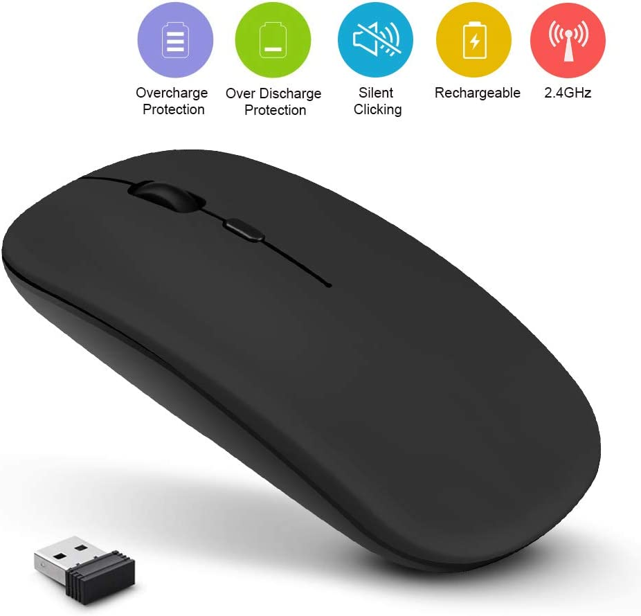 Rechargeable Wireless Mouse, 2.4GHz Slim Silent Click Wireless Optical Mouse, Long Range Wireless Mouse for Laptop & PC, Compatible with Mac, MacBook Pro & MacBook Air etc,by AODOOR