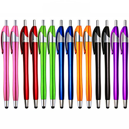 iPad Stylus,Skoloo 14 Pack 2 in 1 Slim Long Click Ink Stylus Ballpoint Pen For Universal Android Touch Screen Tablet Smartphone Apple iPad Mini iPhone,Google Nexus,Samsung Galaxy,HTC, Multi-colored (Samsung G4 Replacement Screen)