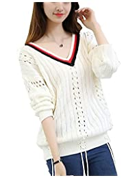 Women's V-Neck Cardigan Hollow Out Long Sleeve Knit Sweater Pullover Tops