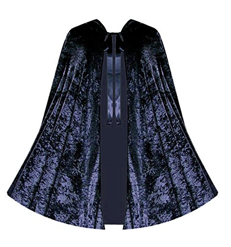 [Halloween Renaissance Gothic Steampunk Girls Boys Kids Velvet Cape (Navy Blue)] (Steampunk Gypsy Costume)