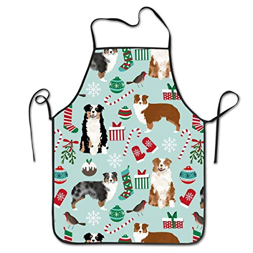 COLOMAKE Polyester Kitchen Chef Australian Shepherd Christmas Cute Aussie Dogs Apron with Long Strap Commercial Men & Women Bib Apron for Cooking Baking Crafting Gardening BBQ -