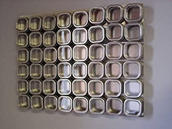 Culinarian II Magnetic Spice Rack   48 Bravada Square Clear Lid Magnetic  Spice Tins, Brushed