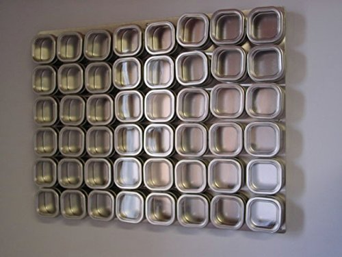 Culinarian II Magnetic Spice Rack - 48 Bravada Square Clear Lid Magnetic Spice Tins, Brushed Stainless Steel Versa-Board Wall Base, 149 Spice Labels by Versa-Tin