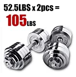 Starring 105 - 200 Lbs adjustable dumbbells (105 LBS Silver)