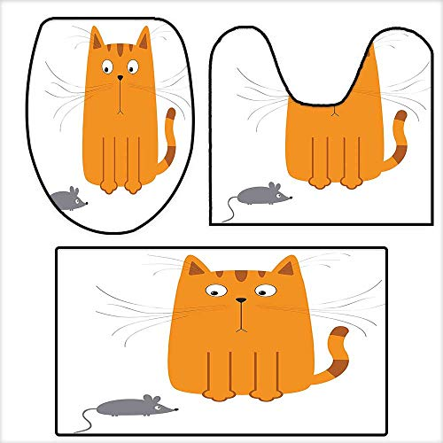 qianhehome 3 Piece Bathroom Rug Set Cute Cat Looking at Mouse Hunter Kitty Fun Humor Kids Animal Graphic Art Print for Marigold Grey.Mat Non Slip Toilet Lid Toilet 19.6