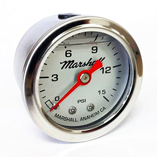 Marshall Instruments LS00015 Liquid Filled Fuel Pressure Gauge Silver