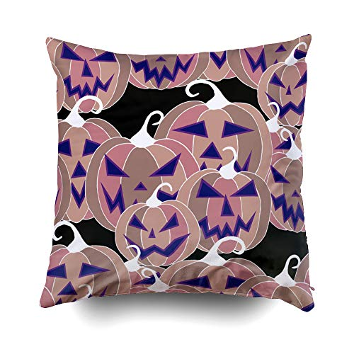 Musesh Halloween Background with Carved Pumpkins Cushions Case Throw Pillow Cover for Sofa Home Decorative Pillowslip Gift Ideas Household Pillowcase Zippered Pillow Covers 16X16Inch