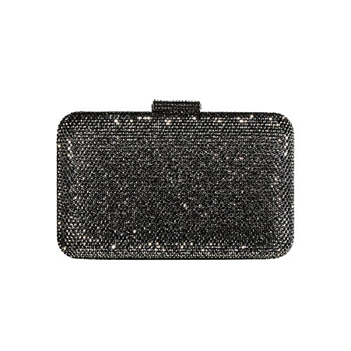 DMIX Womens Large Crystal Clutch for Wedding Bridal Party Prom Evening Bag Gunmetal Grey