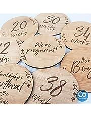 Pregnancy Wooden Cards, Set of 16 Discs, Pregnancy Progress Cards