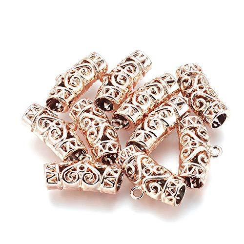 FidgetGear 10pcs Rose Gold Alloy Filigree Bail Beads Curved Tube Pendant Charm Holders 13mm