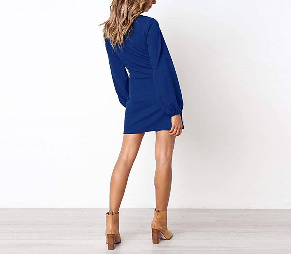 Longwu Womens Loose Casual Front Tie Long Sleeve Bandage Party Dress