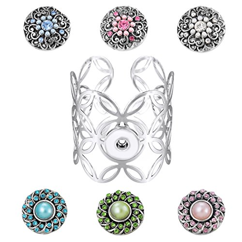 Souarts Flower Cuff Bangle Bracelet with 6pcs Artificial Pearl Rhinestone DIY Snap Button Jewelry Charms