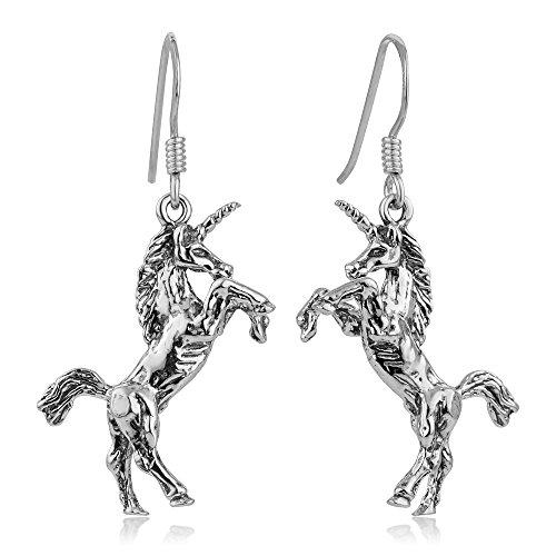 925 Oxidized Sterling Silver Detailed 3-D Unicorn Magic Mythology Dangle Hook Earrings 1.5