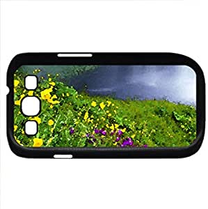Beautiful flowers and waterfall (Waterfalls Series) Watercolor style - Case Cover For Samsung Galaxy S3 i9300 (Black)