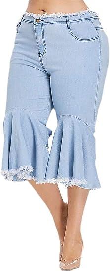 AngelSpace Women Casual Ruffle Plus-size Carpi Pants Washed Raw Hem Denim Pants