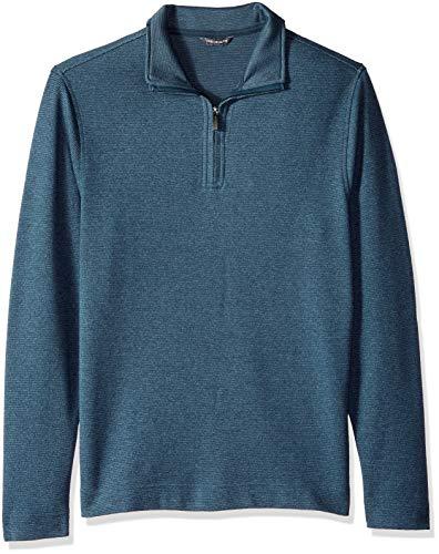 - Van Heusen Men's Flex Long Sleeve 1/4 Zip Ottoman Solid Shirt, Turquoise Stone, Medium