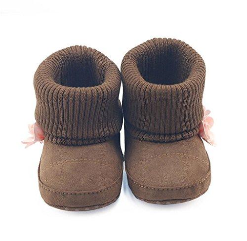Covermason Neugeborene Baby Blume Schuhe Krippenschuhe Weiche Sohle Prewalker Warm Stiefel Kaffee