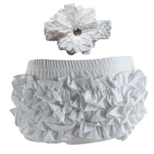 Wennikids Baby Girls Cotton Ruffle Diaper Covers Headband Set - Multicolor