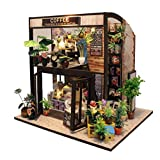Rylai 3D Puzzles Wooden Handmade Miniature Dollhouse DIY Kit Light Time of Coffee House Series Dollhouses Accessories Dolls Houses with Furniture LED Music Box