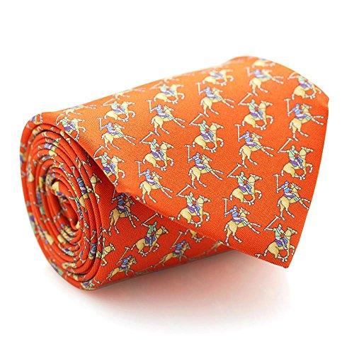 Davidoff Men's Luxury Italian 100% Silk Orange Polo Player Print Slim Necktie - - Luxury Eyewear Italian