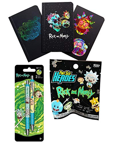 Pint Sized Rick & Morty Mini Figure Pack Funko + 3 Pack Mini Journals Character & Rick and Morty TV Series Writing Pens Embossed Wiggle Fun Bundle