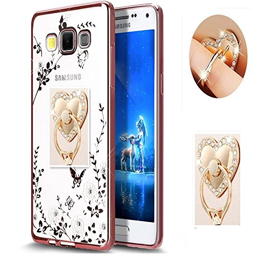 Price comparison product image Galaxy J7 Floral Crystal TPU Case--Inspirationc Soft Slim Bling Plating Rubber Cover for Samsung Galaxy J7 with Rhinestone Diamond and Detachable 360 Ring Stand--Rose Gold and White