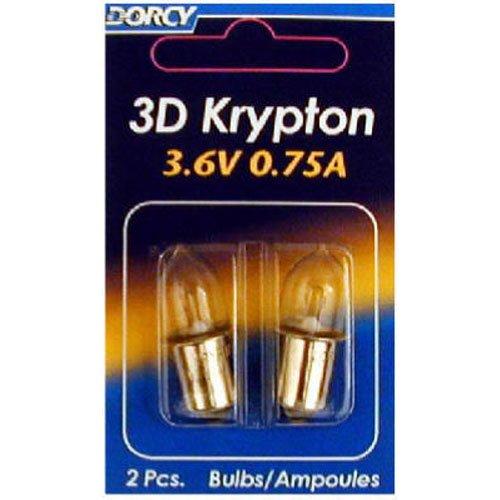 Dorcy 3D-3.6-Volt, 0.75A Flange Base Krypton Replacement Bulb, 2-Pack (41-1661)