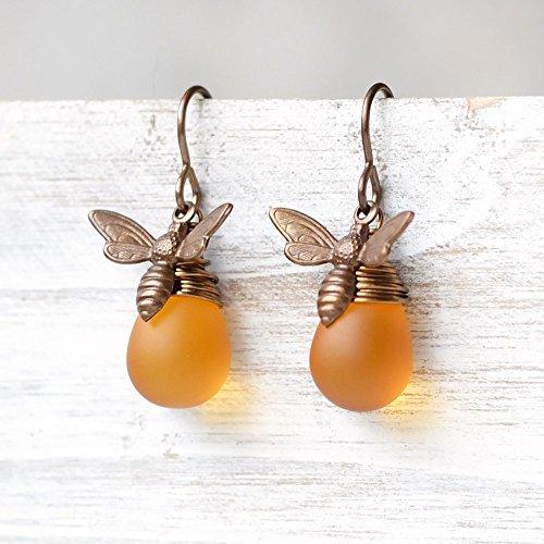 Honey Bee Glass Drop Brass Earrings