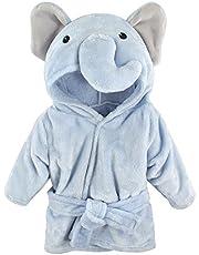 Hudson Baby Unisex Baby Plush Animal Face Robe, Blue Elephant, One Size, 0-9 Months
