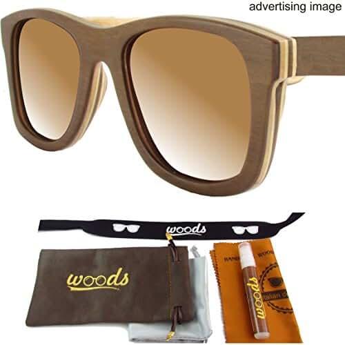 Handmade Genuine Wood Bamboo Polarized Sunglasses / Men / Women (Luxury Case / Accessories / Flexible Temples / UV400 / UVB)