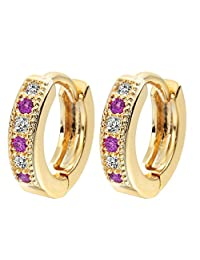 18K Gold Plated Colorful Classic Baby CC Hoop Earrings Zirconia Earring for Baby Teen Girls